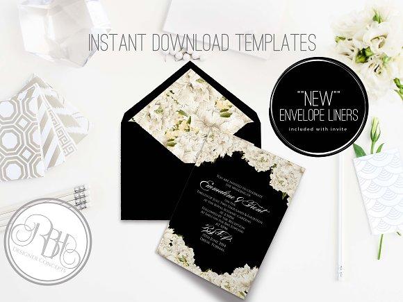 peonies wedding invite template invitation templates creative market