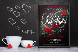 Valentine's day lettering poster
