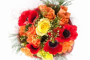 Anemone flowers bouquet from above