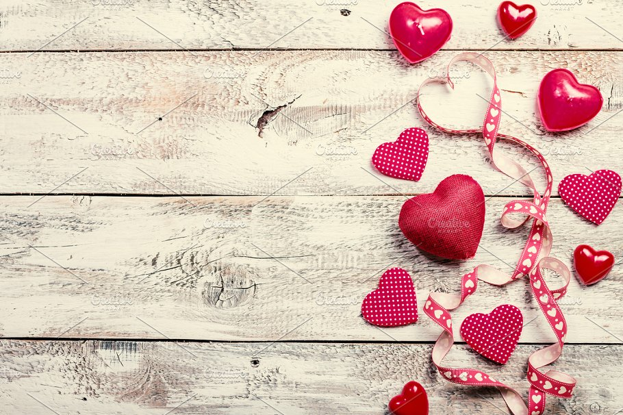 Valentines Day Background With Hearts Holiday Photos Creative