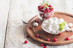 bowl of sugared cranberries