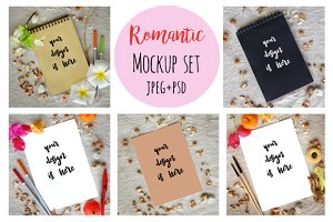 Set-Romantic mockup on rustic canvas