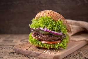 Juicy burger with beef