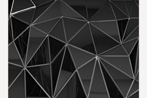Abstract polygonal wall 3D rendering