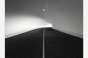 Road white tunnel 3D rendering