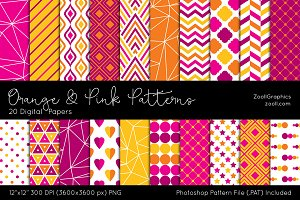 Orange & Pink Digital Papers