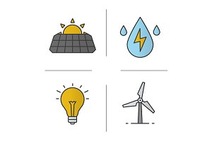 Eco energy. 4 icons. Vector