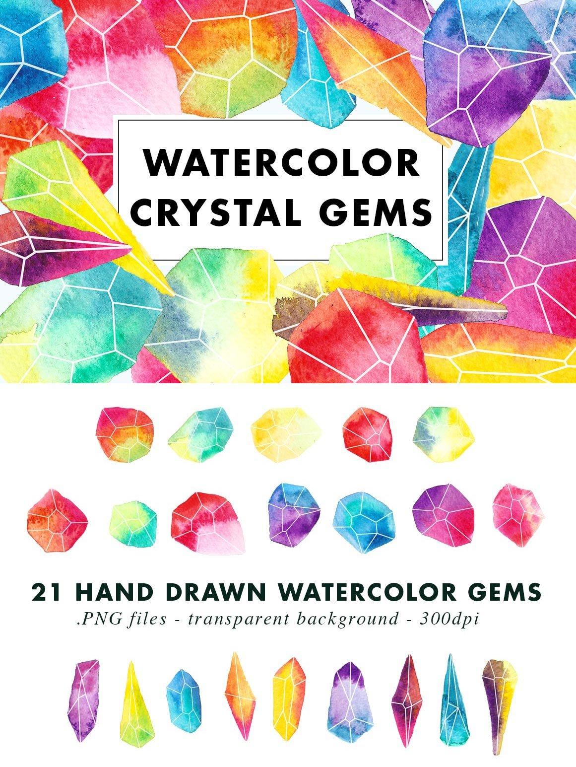 Watercolor Crystal Gems ~ Illustrations ~ Creative Market