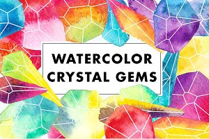 Watercolor Crystal Gems