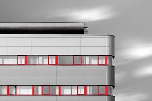 Modern building with red windows
