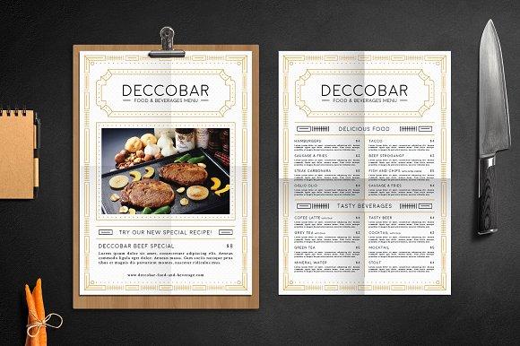 Art deco food beverages menu flyer templates