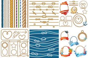 Vector various ropes set