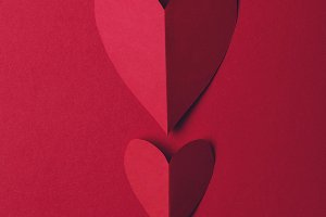 Red paper love heart