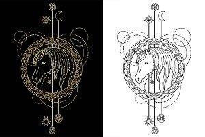 Unicorn Tattoo+Seamless Patterns