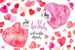 47 Watercolor Hearts