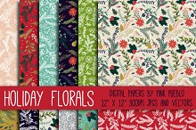 Christmas Holiday Floral Patterns