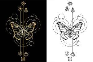 Butterfly Tattoo+Seamless Patterns