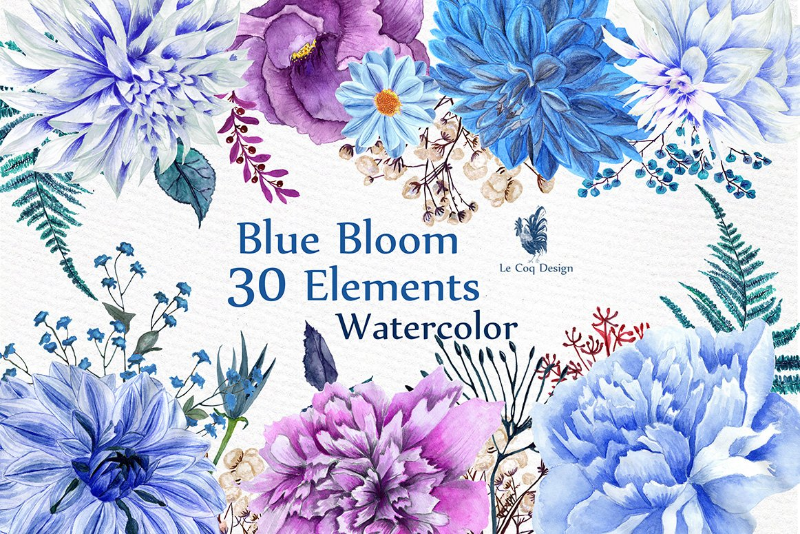 Watercolor Blue Flowers Clipart ~ Illustrations ~ Creative ...