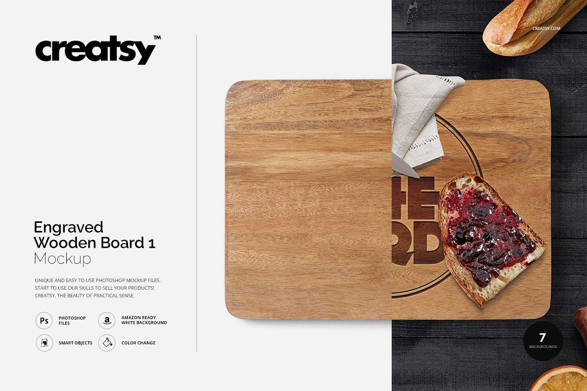 White apron mockup - Engraved Wooden Board 1 Mockup