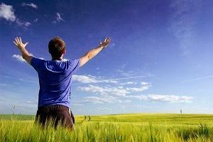 Man feel freedom.