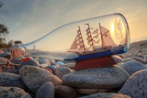 Ship in the bottle.