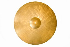 Drum cymbal on white.