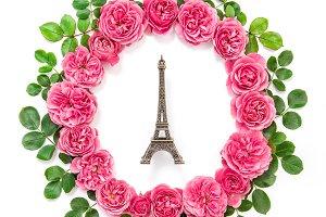 Pink rose flowers Eiffel tower Paris