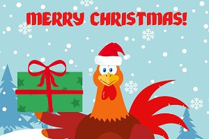 Cute Red Rooster Bird Holding Gifts