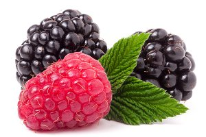 raspberries and blackberries with leaf isolated on white background