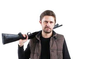Brutal man with shotgun