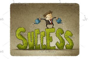 Businessman watering success.