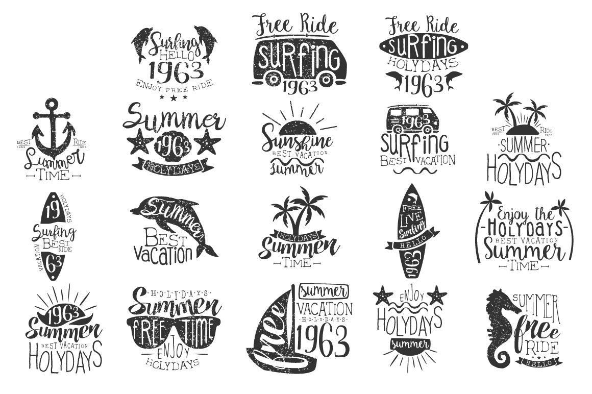 Surfing Holidays Vintage Label ~ Logo Templates ~ Creative