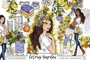 Fashion Girl Lemons Clip Art