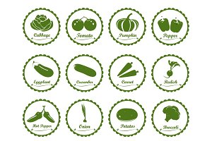 Vegetables icons, sticker, label