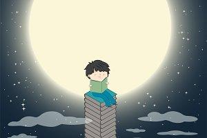 Child reading book near moon