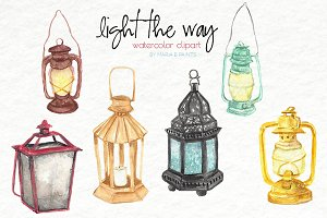 Watercolor Clip Art - Lanterns