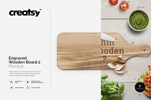 Engraved Wooden Board 2 Mockup