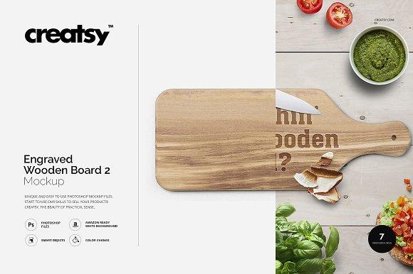 engraved wooden board 2 mockup product mockups creative market