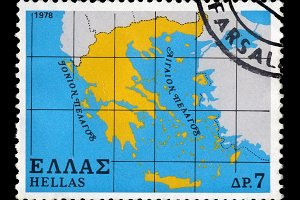 Map Greece Postage Stamp