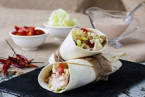 tortilla wrap with chicken breast and vegetables