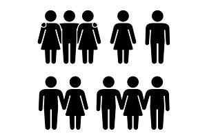 Threesome Human Icons Set