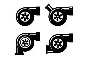 Turbocharger Icons Set