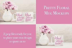 2 Pretty floral styled mug mockups