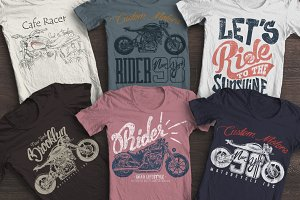 Motorcycles print, set for apparel.
