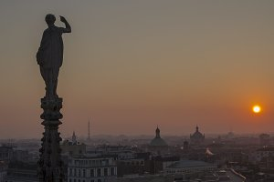 Evening Milan, Italy, view of the city from the terrace  the Duomo