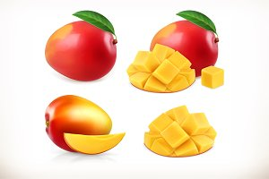 Mango. Whole and pieces. 3d vector