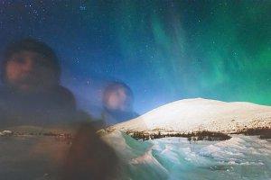 Phantom man and Northern lights view