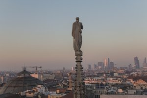 Evening Milan, view of the city from the terrace  the Duomo