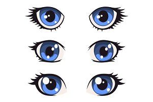 Blue Cartoon Anime Eyes Set