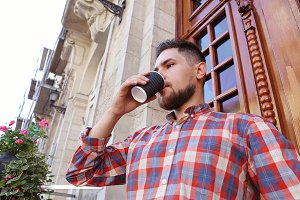 Man with coffee cup